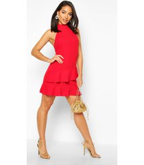 halterneck double ruffle mini dress, red