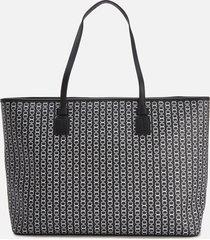 tory burch women's gemini link canvas top zip tote bag - black