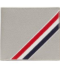 diagonal stripe bifold leather wallet