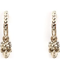 alexander mcqueen pave skull hoop earrings