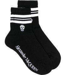 alexander mcqueen skull logo-print socks - black