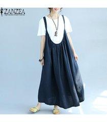 zanzea vestido plisado con tirantes mujer sin mangas tirantes espagueti vestido largo liso -azul