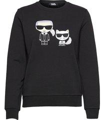 ikonik karl &choupette sweat sweat-shirt tröja svart karl lagerfeld