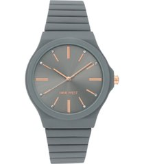nine west women's grey rubberized bracelet watch, 37.5mm