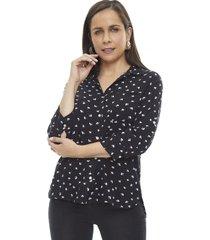 blusa camisera print manga larga negro flores  corona