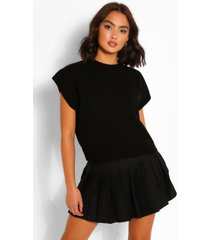 high neck knitted top, black
