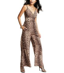 inc plus size cheetah-print jumpsuit, created for macy's