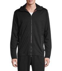 boss hugo boss men's shepherd zip-up hoodie - black - size s