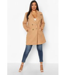 plus double breasted button wool look coat, camel