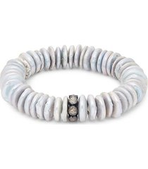 sterling silver, 12mm grey baroque pearl rondelle & diamond bracelet
