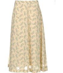 midi-rok met bloemenprint gianna  beige