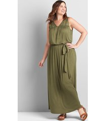 lane bryant women's sleeveless tie-waist maxi dress 26/28 bronze green