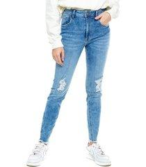 high waist skinny jeans power stretch tono medio con rotos y ruedo desflecado color blue