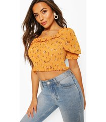 petite floral puff sleeve sheered top, yellow