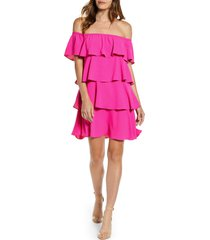 petite women's gibsonlook x hot summer nights natalie off the shoulder ruffle dress, size xx-small p - pink (regular & petite) (nordstrom exclusive)