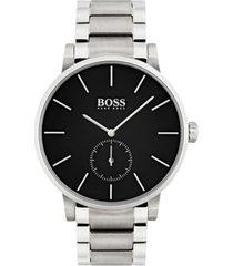 boss men's essence black stainless steel bracelet watch 42mm 1513501