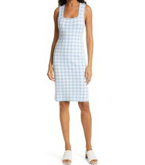 women's staud dorinne gingham check sleeveless sweater dress, size large - blue