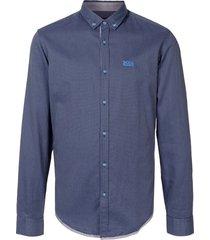 boss micro-polka dot print button-down shirt - blue