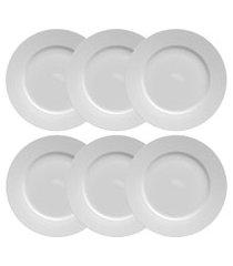conjunto 6 pratos rasos porcelana flat germer 27cm branco