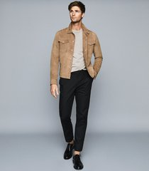 reiss heath - garment dyed t-shirt in soft grey, mens, size xxl
