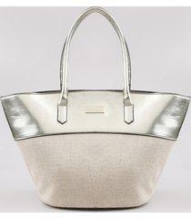bolsa feminina água de coco grande metalizada com palha bege claro
