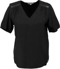 garcia soepel zwart structure shirt met pailletten van stevig viscose