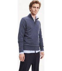 tommy hilfiger men's wool mockneck sweater vintage indigo heather - xs
