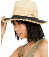 steve madden straw colorblocked panama hat