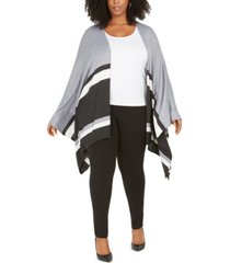 belldini plus size contrast-striped poncho