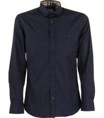 burberry sherwood - slim fit monogram motif stretch cotton poplin shirt
