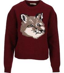 maison kitsune fox head sweater