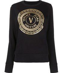 versace jeans couture metallic logo print sweatshirt - black