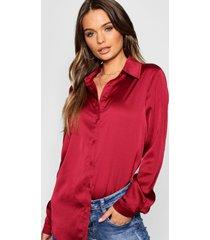 woven satin oversized long sleeve shirt, wine
