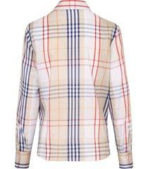 blouse van 100% katoen met ruitdessin van eterna multicolour