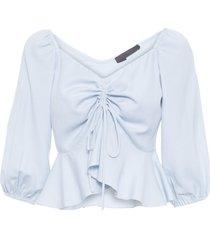 camisa feminina decote v franzido - azul