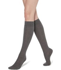 calzedonia long ribbed socks with cotton and cashmere woman grey size 36-38
