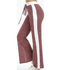 cintura informal con cordón de raya lateral de pierna ancha pantalones