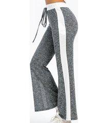 cintura con cordón de raya lateral de pierna ancha informal pantalones