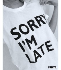 sorry i'm late - short sleeve unisex tee - white / black