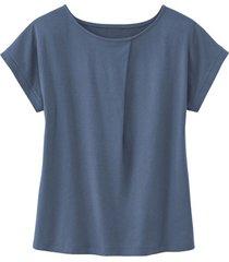 shirt met ronde hals en wijdteplooi van bio-katoen, rookblauw 34