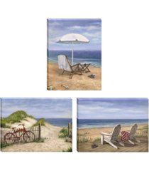 "trendy decor 4u sand beach designs 3-piece vignette by opportunities, gallery wrap canvas, 16"" x 12"""