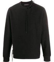 craig green loose-fit laced sweatshirt - black