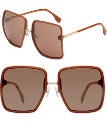 women's fendi 59mm angular sunglasses - brick cora/ pink