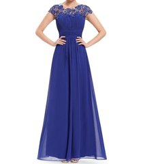 fanmu cap sleeves lace chiffon bridesmaid dresses prom gowns royal blue us 12