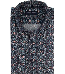casa moda overhemd comfort fit donkerblauw dessin