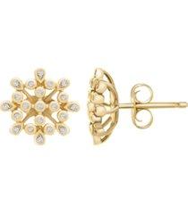 diamond (1 ct. t.w.) bezel flower earrings in 10k yellow gold over sterling silver