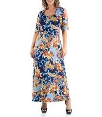 24seven comfort apparel women's plus size open shoulder paisley maxi dress