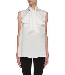 bow collar polka dot sleeveless blouse