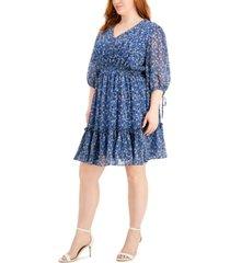 taylor plus size floral-print peasant dress