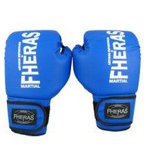 luva fheras  boxe muay thai tradicional - 14 oz azul .